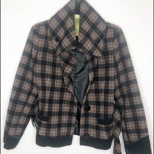 Soia & Kyo Black Brown Plaid Belted Coat